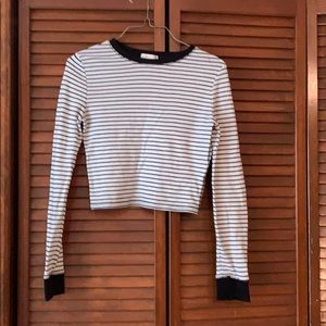Forever 21 long sleeve striped crop top